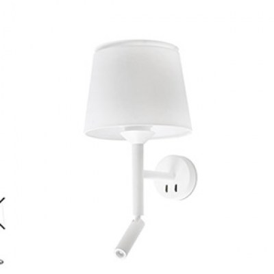 SAVOY White structure wall lamp with LED reader Faro