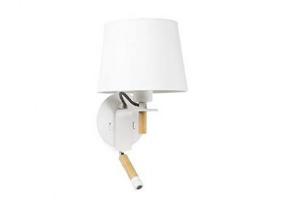 FUSTA White wall lamp with LED reader Faro