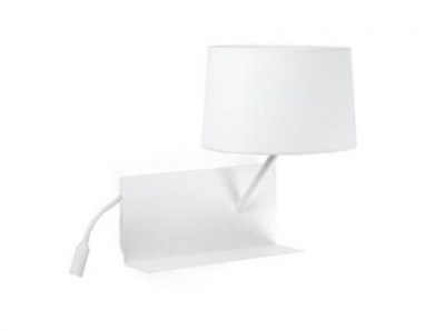 HANDY White wall lamp with LED right reader Faro