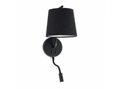 BERNI Black wall lamp with LED reader Faro