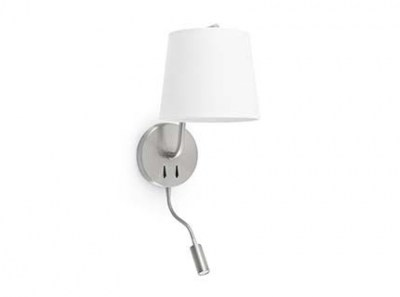BERNI Satin nickel wall lamp with LED reader Faro