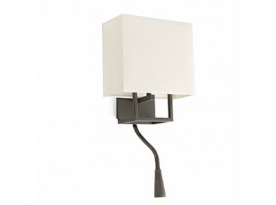 VESPER Brown and beige wall lamp with LED reader Faro