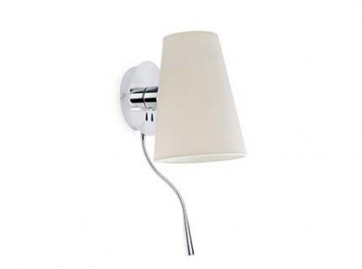 LUPE Chrome wall lamp with LED reader Faro