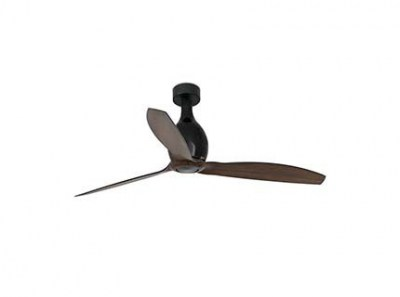 MINI ETERFAN Matt black/wood ceiling fan with DC motor Faro