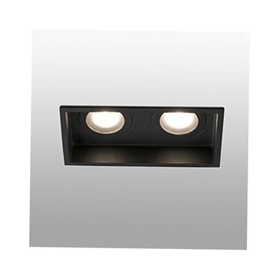 HYDE Black square recessed lamp 2L Faro