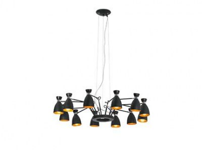 RETRO Black and gold pendant lamp 12L Faro