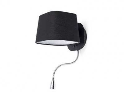 SWEET Black reading wall lamp with LED reader 1L Faro