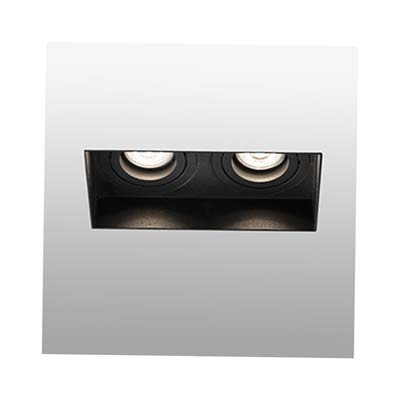 HYDE Trimless black orientable square recessed lamp without frame 2L Faro