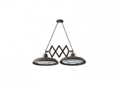 PLEC LED Old brown extensible pendant lamp 2L Faro